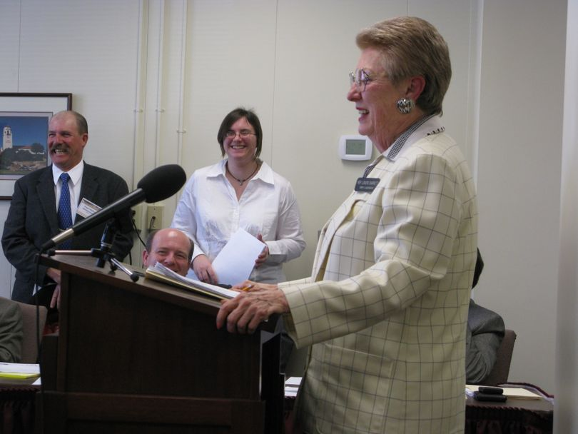 Nine-term Rep. Lenore Barrett, R-Challis, tells a House committee to introduce her measure calling for getting wolf delisting back on track. Amid laughter, Barrett threatened to fire a pencil or toss her shoe at representatives if they didn't agree to introduce the measure; the vote to introduce it was unanimous. (Betsy Russell / The Spokesman-Review)