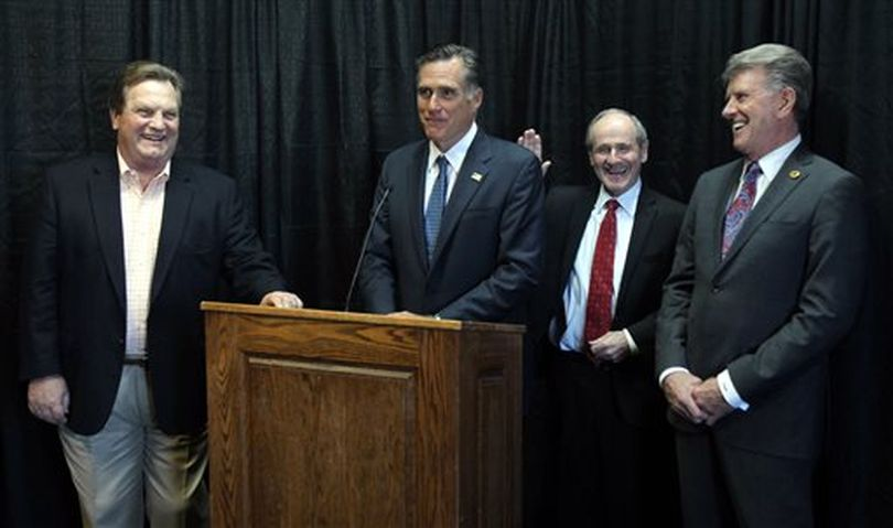 Mitt Romney stumps for Idaho Republican candidates in Boise on Thursday (AP/Idaho Statesman / Joe Jaszewski)