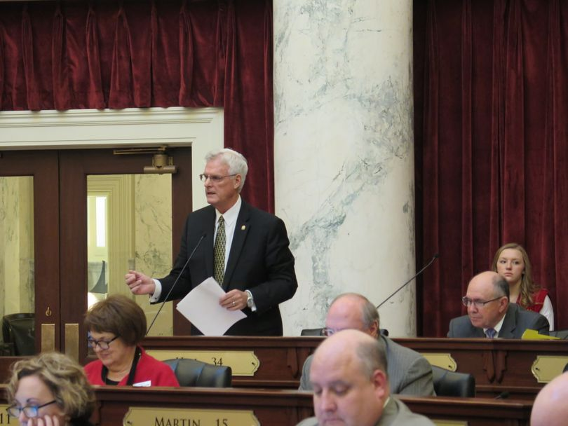 Sen. Brent Hill, R-Rexburg, presents the details of HB 463 - the governor's $200 million-plus income tax cut bill - to the Idaho Senate on Thursday, March 1, 2018. (Betsy Z. Russell)