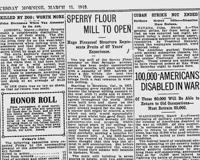 The big Sperry Flour Mill on East Sprague was about to open – with a capacity of at least 1,000 barrels a day, reported The Spokesman-Review on March 14, 1919. (The Spokesman-Review archives)