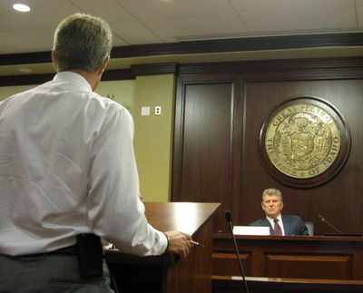 State forester David Groeschl briefs the Idaho Land Board on Tuesday (Betsy Russell)