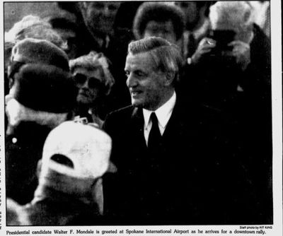 Walter Mondale campaigned for U.S. president in Spokane on Oct. 29, 1984.  (Kit King/THESPOKESMAN-REVIEW)