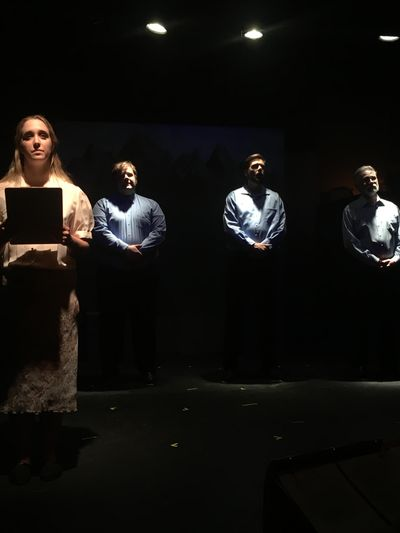 """Actors perform a scene from """"God's Country,"""" which opens Friday at Stage Left Theater. (Andrea Tate)"""