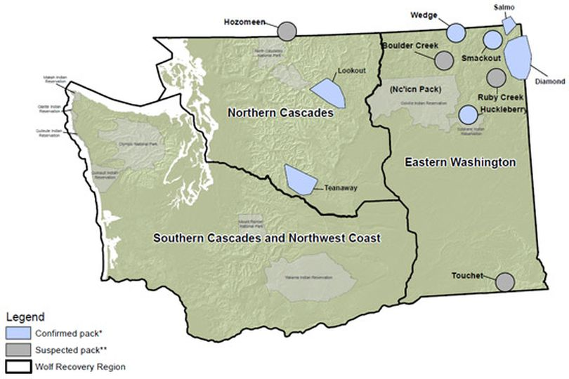 Gray wolf packs confirmed in Washington as of July 17, 2012. (Washington Fish and Wildlife Department)