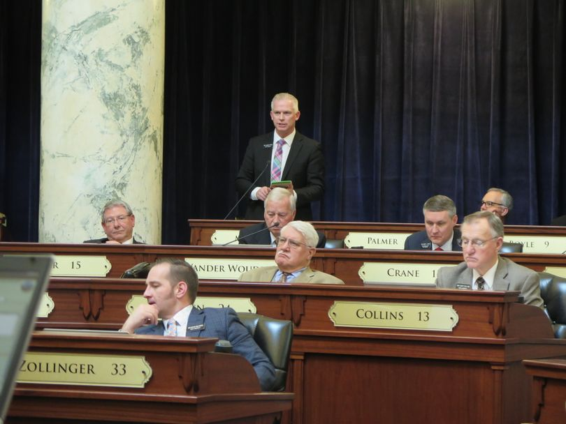 Rep. Jason Monks, R-Nampa, argues in favor of his bill to require future income tax cuts when state revenue rises; the bill, HB 561, passed the House on a 48-20 vote and now heads to the Senate side. (Betsy Z. Russell)