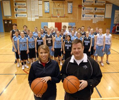 Ashlee Taylor, left, and Bill Bland are first-year girls and boys basketball coaches at Freeman High School.  (J. BART RAYNIAK / The Spokesman-Review)