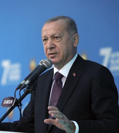 Turkey's President Recep Tayyip Erdogan addresses his ruling Justice and Development Party members at a soccer stadium, in Black Sea city of Samsun, Turkey, Monday, Nov. 1, 2020.  (POOL)