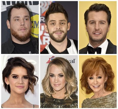 This combination photo shows country performers, top row from left, Luke Combs, Thomas Rhett, Luke Bryan, and from bottom left, Maren Morris, Carrie Underwood and Reba McEntire who took to social media to express their sadness after the mass shooting in Las Vegas at the Route 91 Harvest Festival on Sunday, Oct. 1, 2017. (Associated Press)