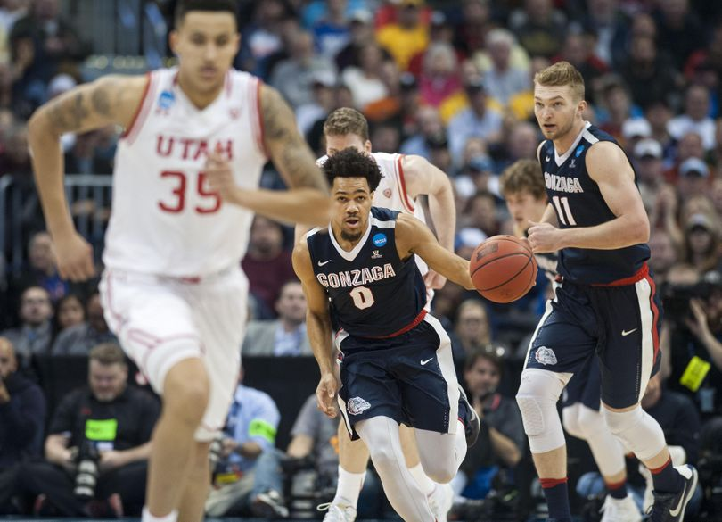 Gonzaga guard Silas Melson kicks a fast break into high gear against Utah at the Pepsi Center, March 19, 2016 in the Zags' NCAA Second Round win in Denver, Col. (Dan Pelle / The Spokesman-Review)
