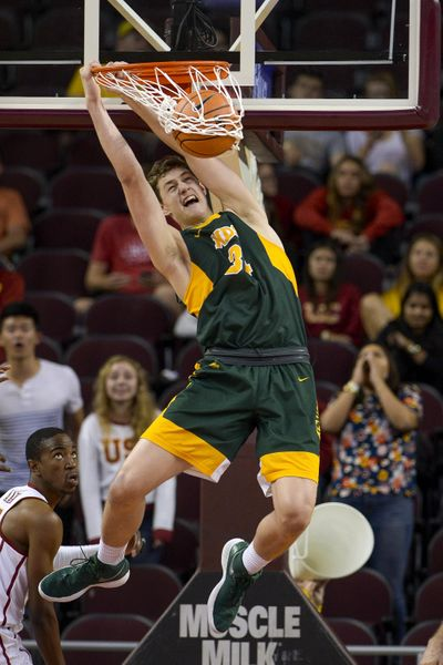In this Nov. 13, 2017 file photo, North Dakota State forward Rocky Kreuser slam dunks the ball during the second half of an NCAA college basketball game against Southern California, in Los Angeles. Southern California won 75-65. (Gus Ruelas / Associated Press)