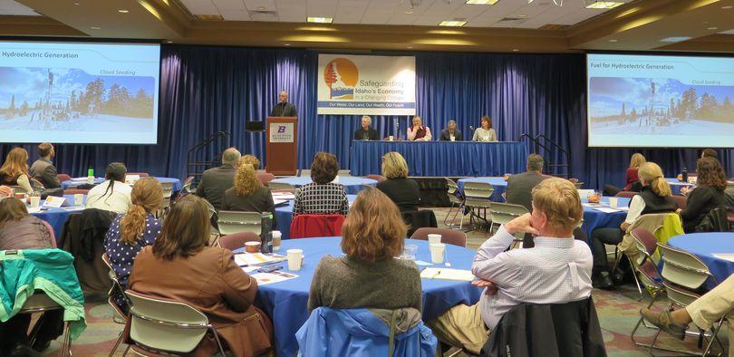 John Bernardo of Idaho Power speaks at Boise State University on Thursday, Nov. 16, 2017, as part of a statewide climate summit entitled,