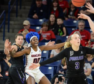 Gonzaga forward Zykera Rice calls for the ball  during a Jan. 12 game at the McCarthey Athletic Center. Rice is the only Bulldog in the top 20 in scoring. (Dan Pelle / The Spokesman-Review)