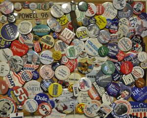 Campaign buttons and paraphernalia, some dating back more than 70 years, from a display on the wall in The Spokesman-Review's Olympia office. (Jim Camden/The Spokesman-Review)