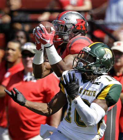 Rutgers' Leonte Carroo, left, is a dangerous receiver, as WSU found out in a hurry last year. (Associated Press)