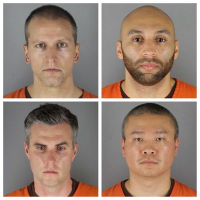 FILE - This combination of file photos provided by the Hennepin County Sheriff's Office in Minnesota on June 3, 2020, shows, top row from left, Derek Chauvin, and J. Alexander Kueng, bottom row from left, Thomas Lane and Tou Thao. A judge on Thursday, Nov. 5 declined defense requests to move the trial of the four Minneapolis police officers charged in George Floyd's death, and also ruled that all four would be tried in a single proceeding.  (HOGP)