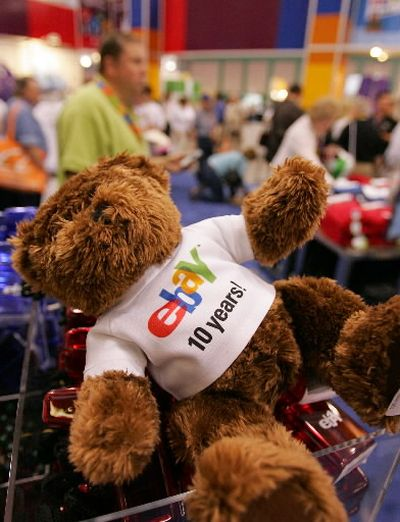 An eBay teddy bear sporting a 10th anniversary shirt is seen for sale during eBay Live! Last week in San Jose, Calif. EBay Inc. ranks among the world's most powerful e-commerce companies, with roughly 150 million registered users and more than 1.4 billion items listed last year.   (Associated Press / The Spokesman-Review)