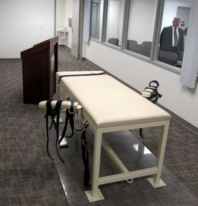 The execution chamber at the Idaho Maximum Security Institution in shown in 2011 as Security Institution Warden Randy Blades looks on in Boise.  (Jessie L. Bonner)