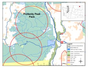 Circle shows approximate range of the Profanity Peak wolf pack, which is north of U.S. 20 in Ferry County, Washington.w (Washington Department of Fish and Wildlife)
