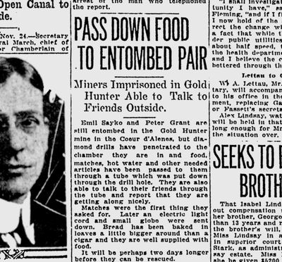 Rescuers punched a drill hole through to the men, through which they were able to pass food, water and letters. (Spokane Daily Chronicle)