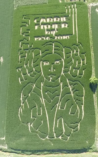 This July 12, 2017 photo provided by Jeremy Goebel shows a corn maze with trails outlining the face of