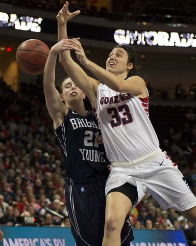 Heading to the basket, Gonzaga Bulldogs guard Lindsay Sherbert (33) has the ball stripped away Brigham Young Cougars guard Lexi Eaton (21)during the first half of a West Coast Conference tournament championship NCAA woman's college basketball game Tuesday in Las Vegas, Nevada.  Eaton was called for the foul. (Colin Mulvany)