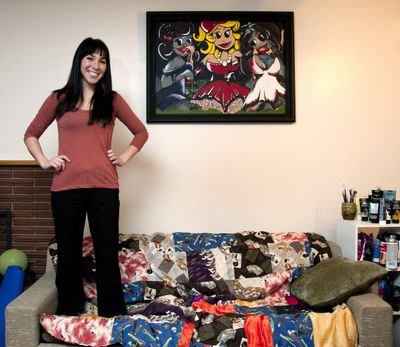 Haley Waddington, 29, a Tlingit/Tahltan from Wrangell, Alaska, accepted an Alaska Native Scholarship and attended Full Sail University in Florida, where she earned an associate's degree in computer animation. Inspired by Pixar and Disney, she creates cartoonlike paintings. (Dan Pelle)
