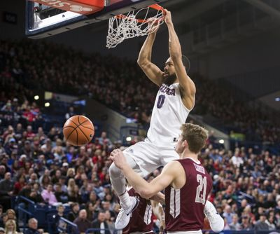 Gonzaga guard Silas Melson throws down a first-half dunk against Santa Clara on Saturday in the McCarthey Athletic Center. Melson scored a game-high 19 points. (Dan Pelle / The Spokesman-Review)