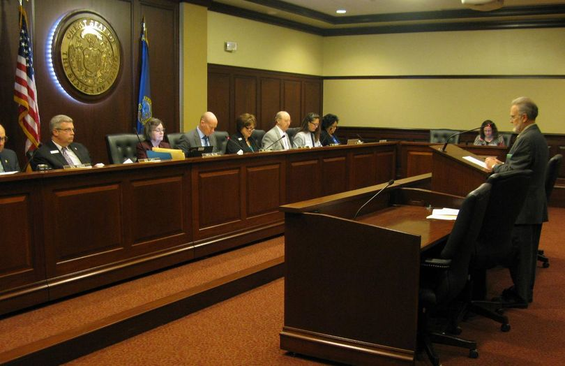 David Ripley presents abortion-related legislation to the Senate State Affairs Committee on Friday (Betsy Z. Russell)