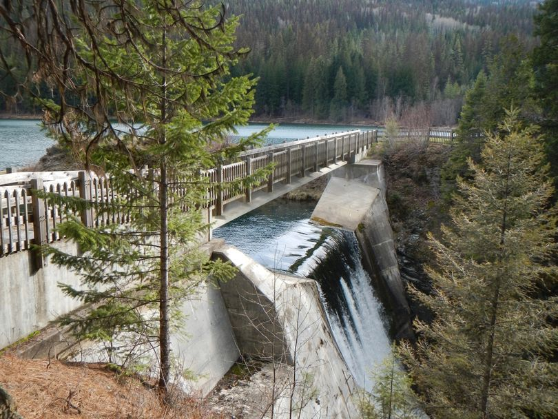The concrete version of Mill Pond Dam was built in 1921 on Sullivan Creek between Sullivan Lake and Metaline Falls, Washington. (Seattle City Light)