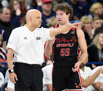Eastern Washington University coach Shantay Legans has chat time with guard Ellis Magnuson during the Gonzaga game, Saturday. Dec. 21, 2019, in the McCarthey Athletic Center.Dan Pelle/THE SPOKESMAN-REVIEW  (DAN PELLE)