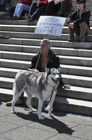 """Mike Poppke and his """"poker-playing  buddy"""" Prince, a Malamute/Husky mix, attend a Poker Player Alliance rally on the steps of the state Capitol Thursday. (Jim Camden, Spokesman-Review)"""