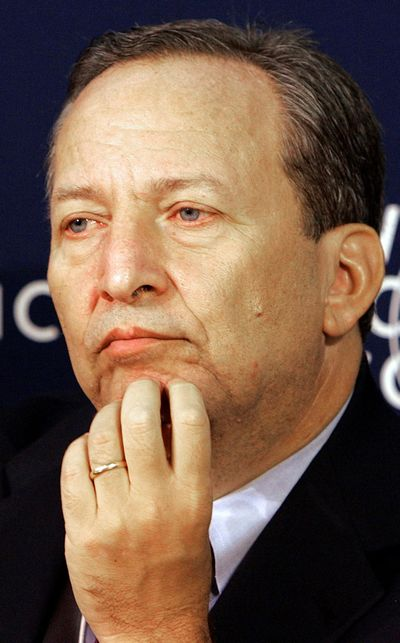 This photo from Jan. 25, 2006, shows former U.S. Treasury Secretary Lawrence Summers. He warned that the Federal Reserve will likely be pressured into raising interest rates sooner than markets expect.  (Associated Press)