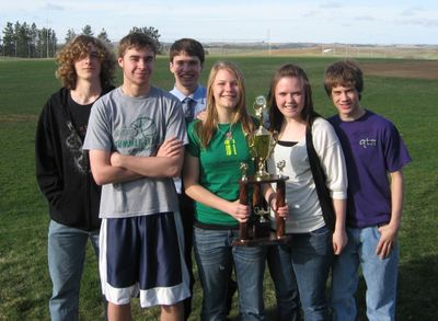 John Peters, Daniel James, Abby Vander Linden, Anthony Emtman, Felicity Weathers, Ben Mega took top honors at the recent Washington State Knowledge bowl.Courtesy of Freeman School District (Courtesy of Freeman School District / The Spokesman-Review)