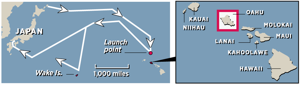 Japanese fleet sets sail on Nov. 25 staying north to avoid detection. Planes launch from six carriers 230 miles north of Hawaii. On the return trip, the ships swing south to attack Wake Island