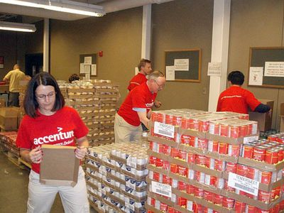 Volunteers stack goods at the Second Harvest Heartland Distribution Center in Minn. This recession is turning into a volunteer boom time.  (Associated Press / The Spokesman-Review)