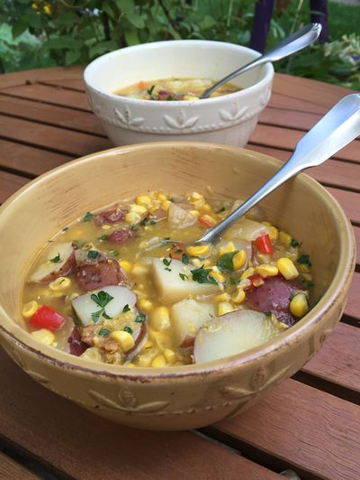 Hang onto summer by grilling corn for chowder.