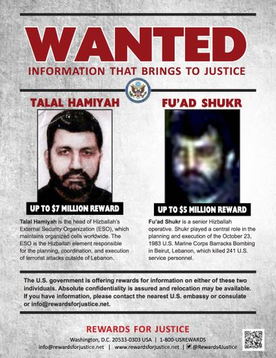 This wanted poster released by the U.S. Department of State's Rewards for Justice program shows Talal Hamiyah, left, and Fu'ad Shukr. A Hezbollah official said Wednesday, Oct. 11, 2017 that multimillion dollar rewards offered by the Trump administration in return for information leading to the arrest of its operatives are part of ongoing U.S. efforts to