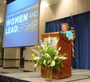 Victoria Lipnic, EEOC commissioner, addresses the Andrus Center Conference on Women and Leadership in Boise (Betsy Russell)