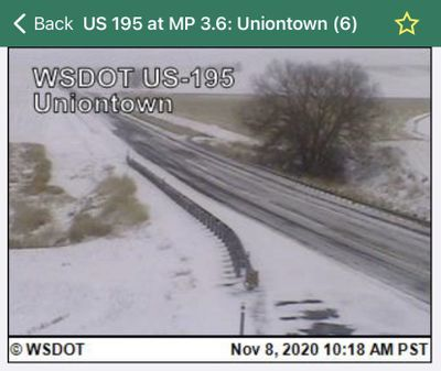Slick roads and crashes forced the closure of U.S. Highway 195 near Pullman on Sunday, Nov. 8, 2020.
