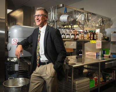 Doug Wordell, director of nutrition services for Spokane Public Schools, visits the North Central High School kitchen on Wednesday, Aug. 22, 2018. (Dan Pelle / The Spokesman-Review)
