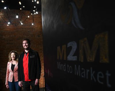 Amanda Hepper and Joe Gellaty are the founders of Medcurity, a health care IT company. They're shown here on Thursday, Nov. 29, 2018, at Startup Spokane offices. (Tyler Tjomsland / The Spokesman-Review)