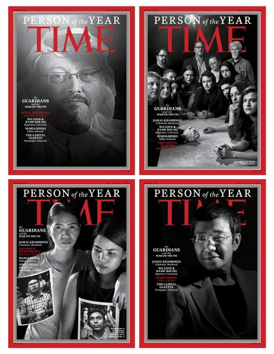 This combination photo provided by Time Magazine shows their four covers for the