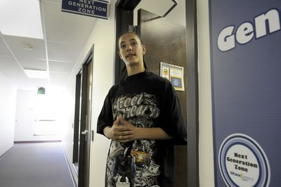 Donohvan Dunigan, 17, stands in the hallway at the Next Generation Zone office in the WorkSource Building on Thursday. He is hoping to find employment soon, possibly through a teen jobs program funded by federal stimulus money.  (Jesse Tinsley / The Spokesman-Review)