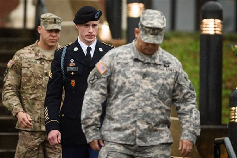 U.S. Army Sgt. Robert Bergdahl leaves the courthouse Tuesday, Dec. 22, 2015, after his arraignment hearing at Fort Bragg, N.C. (AP/The Fayetteville Observer / Andrew Craft)