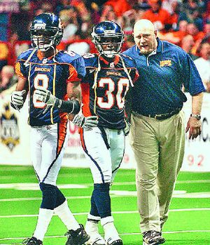 Spokane Shock assistant coach Steve Emtman, once the overall No. 1 pick in the NFL draft, didn't think he would return to the area or to the coaching field.   (Brian Plonka / The Spokesman-Review)