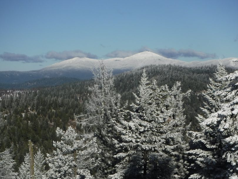 Mount Spokane glistens in the distance north of where hikers stopped to make this photo while enjoying a walk through new snow on Antoine Peak Conservation Area in Spokane Valley. (Holly Weiler)