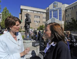 chrisa@spokesman.com U.S. Rep. Cathy McMorris Rodgers, left, and U.S. Sen. Maria Cantwell talk Thursday outside the Shriners Hospital for Children in Spokane. Both spoke at the Save Our Shriners rally. (CHRISTOPHER ANDERSON / The Spokesman-Review)