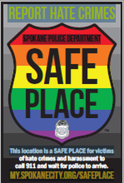 The Safe Place decal displayed in businesses in Spokane who have agreed to be a safe place for crime victims, especially hate crimes.  (Emma Epperly / The Spokesman-Review)