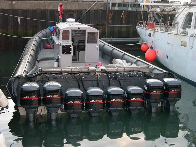 A boat reportedly used for drug running across the English Channel had eight outboards totaling 2,000 hp.