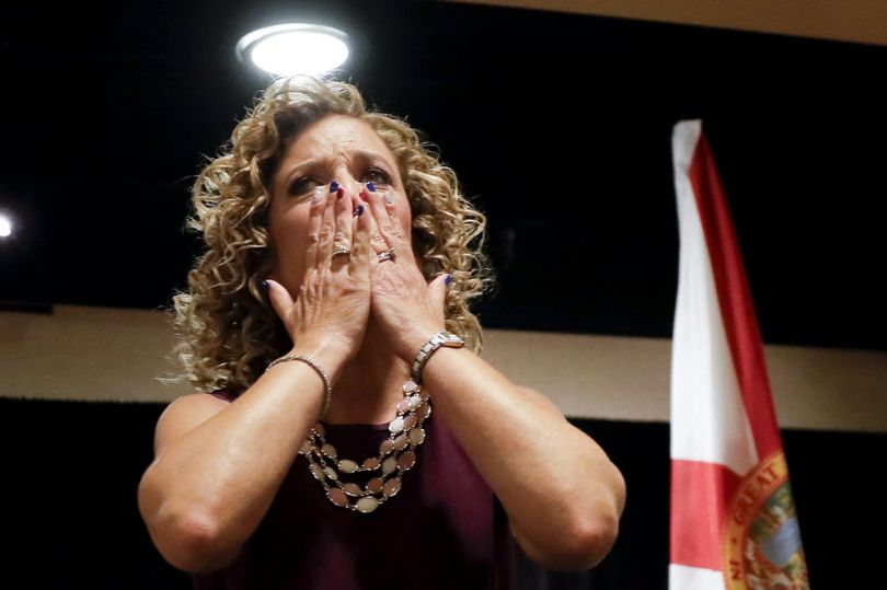 DNC Chairwoman, Debbie Wasserman Schultz, D-Fla., greeted the Florida delegation at a breakfast, Monday in Philadelphia, during the first day of the Democratic National Convention. (AP Photo/Matt Slocum)
